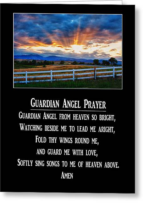 Guardian Angel Greeting Cards - Guardian Angel Prayer Greeting Card by James BO  Insogna