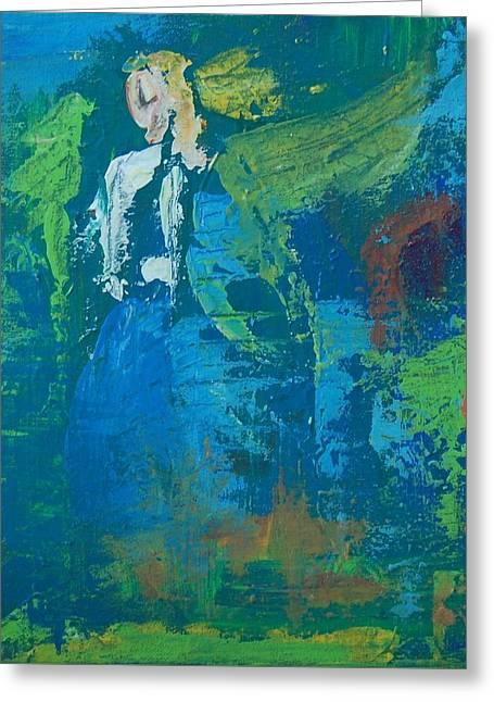 Angel Blues Greeting Cards - Guardian Angel Greeting Card by Terri Davis