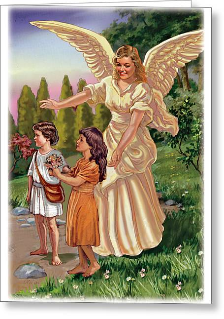 Christ Child Mixed Media Greeting Cards - Guardian Angel Greeting Card by Valerian Ruppert