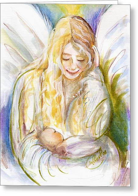 Guardian Angel Greeting Cards - Guardian Angel with Baby Greeting Card by Sylvia Pimental