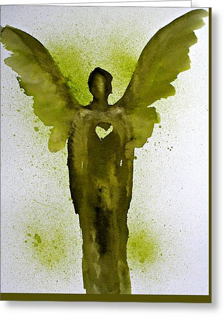 Guardian Angels Golden Heart Greeting Card by Alma Yamazaki