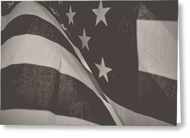 American Flag Pyrography Greeting Cards - Guardian Flag Greeting Card by Matthew Goodman