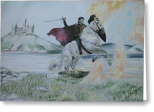 Chevalier Drawings Greeting Cards - Guardian of the castle Greeting Card by Melita Safran