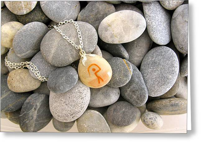 Charm Necklace Jewelry Greeting Cards - GUARDIAN pebble necklace Greeting Card by Melanie Bourne
