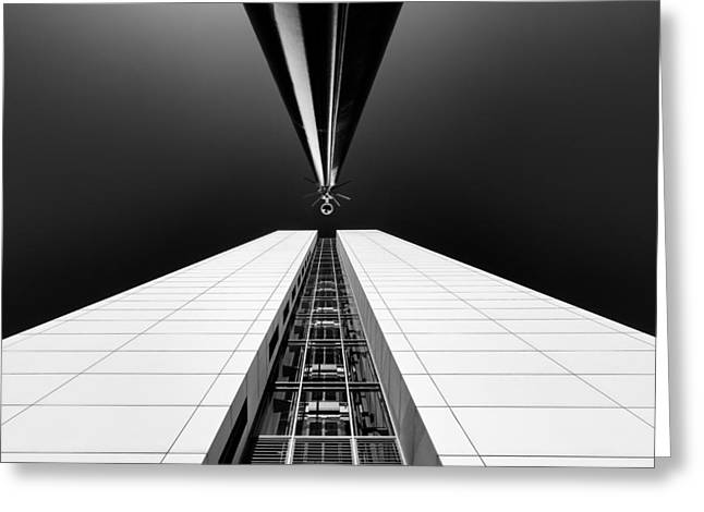Blackandwhite Greeting Cards - Guarding The Elevator Shaft Greeting Card by Michiel Hageman