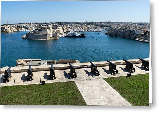 Guarding The Expensive Boats - Valletta Grand Harbour Saluting Battery Greeting Card by Georgia Mizuleva
