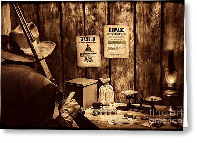 Valuable Greeting Cards - Guarding the Payroll Greeting Card by American West Legend By Olivier Le Queinec