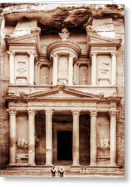 Jordan Greeting Cards - Guarding The Petra Treasury Greeting Card by Nicola Nobile