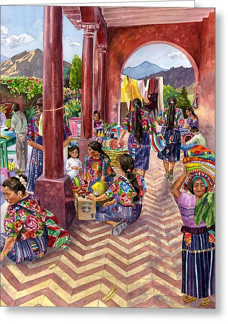 Marketplace Greeting Cards - Guatemalan Marketplace Greeting Card by Anne Gifford