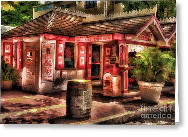 Red Buildings Greeting Cards - Guava Emporium Greeting Card by Arnie Goldstein