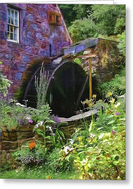 Water Flowing Mixed Media Greeting Cards - Guernsey Moulin or Waterwheel Greeting Card by Bellesouth Studio