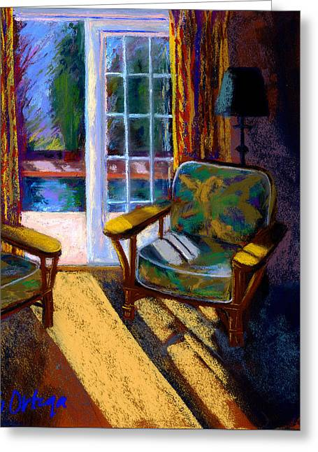 Interior Still Life Pastels Greeting Cards - Guesthouse in Santa Fe Greeting Card by Sandra Ortega