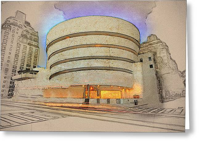 Guggenheim Museum Greeting Card by Anthony Caruso