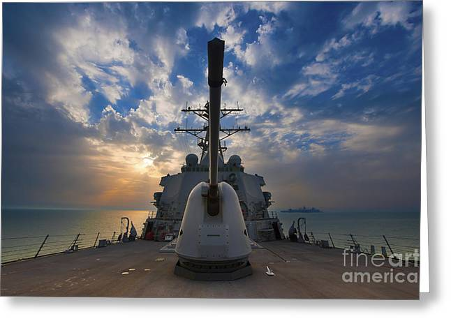 Sea Platform Greeting Cards - Guided-missile Destroyer Uss Higgins Greeting Card by Stocktrek Images