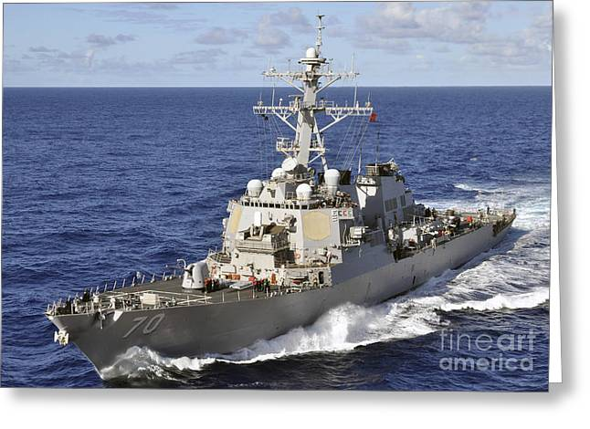 Guided-missile Destroyer Uss Hopper Greeting Card by Stocktrek Images