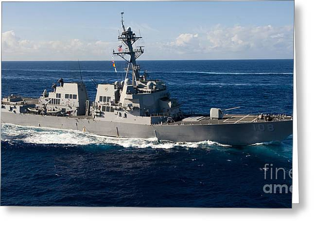 Guided-missile Destroyer Uss Wayne E Greeting Card by Stocktrek Images