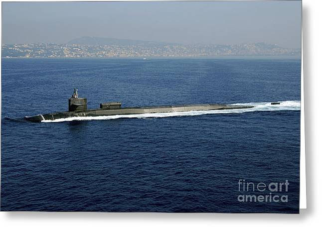 Underway Greeting Cards - Guided-missile Submarine Uss Georgia Greeting Card by Stocktrek Images