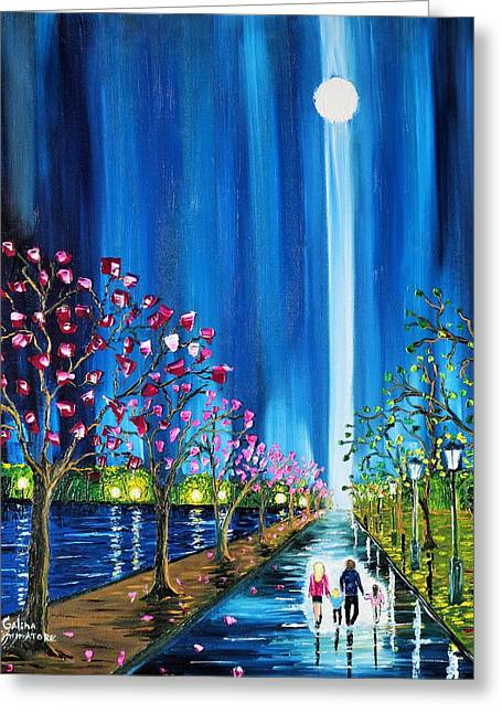Family Walks Paintings Greeting Cards - Guiding Light Greeting Card by Galina Zimmatore