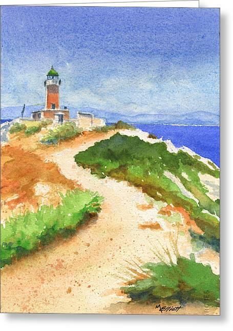 Mediterranean Landscape Greeting Cards - Guiding Light Greeting Card by Marsha Elliott