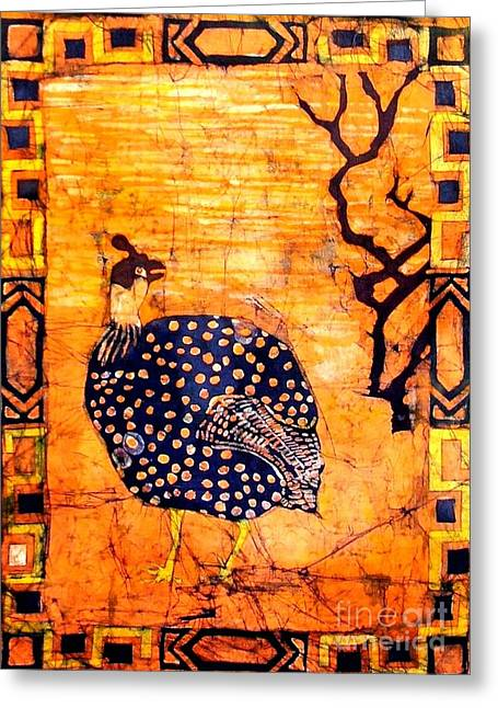 Caroline Street Greeting Cards - Guinea Fowl Batik Greeting Card by Caroline Street