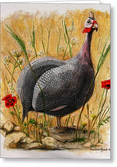 Yvonne Ayoub Greeting Cards - Guinea Fowl with Poppies Greeting Card by Yvonne Ayoub