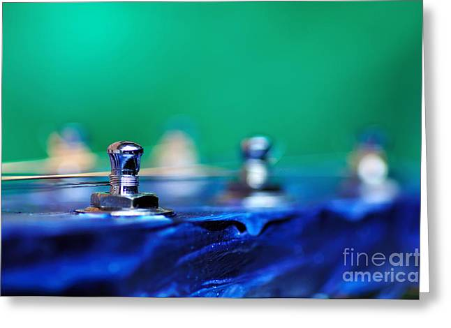 Blue And Green Photographs Greeting Cards - Guitar Abstract 7 Greeting Card by Kaye Menner