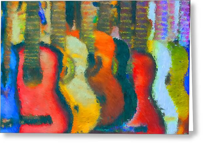Mike Obrien Greeting Cards - Guitar Abstract Greeting Card by Mike OBrien