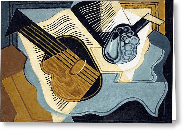 Pablo Picasso Greeting Cards - Guitar and Fruit Bowl Greeting Card by Juan Gris