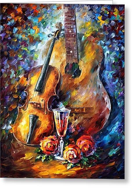 Guitar And Violin Greeting Card by Leonid Afremov