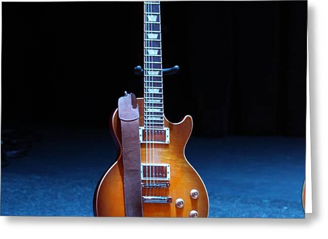 Guitar Blue Greeting Card by Lauri Novak