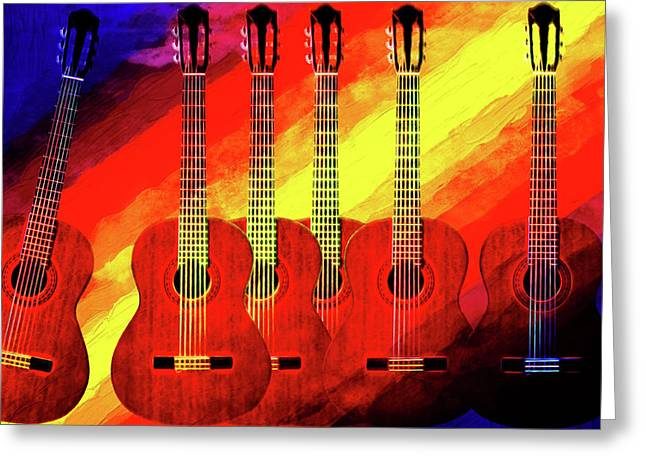 Abstract Shapes Greeting Cards - Guitar Fantasy One Greeting Card by Richard Farrington