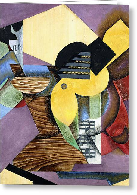 Pablo Picasso Greeting Cards - Guitar Greeting Card by Juan Gris
