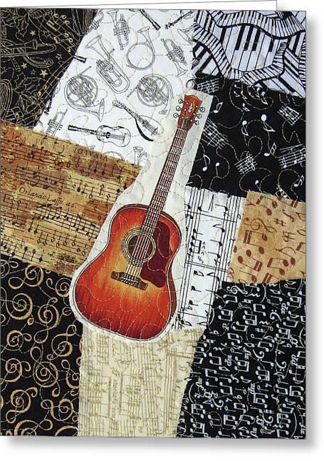 Western Tapestries - Textiles Greeting Cards - Guitar Greeting Card by Loretta Alvarado