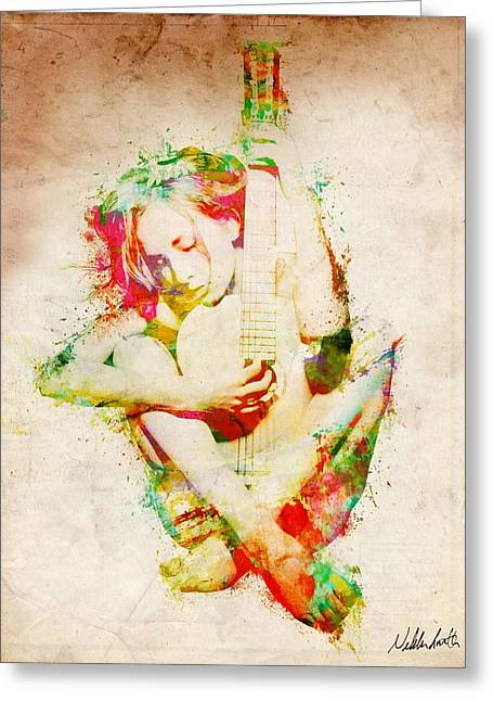 Strumming Greeting Cards - Guitar Lovers Embrace Greeting Card by Nikki Smith