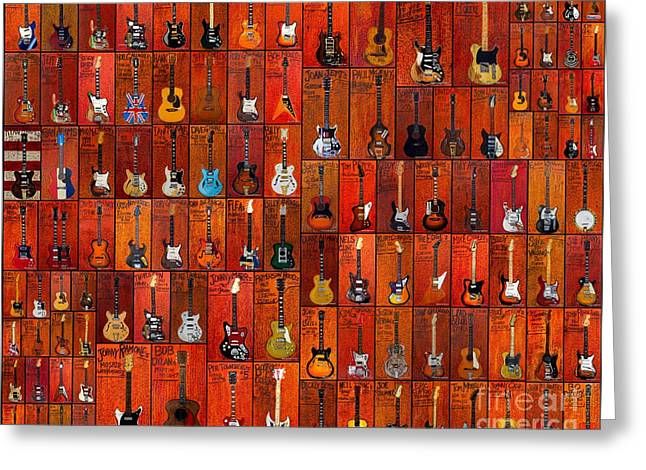 Iconic Guitars Greeting Cards - Guitar painting collage Greeting Card by Karl Haglund
