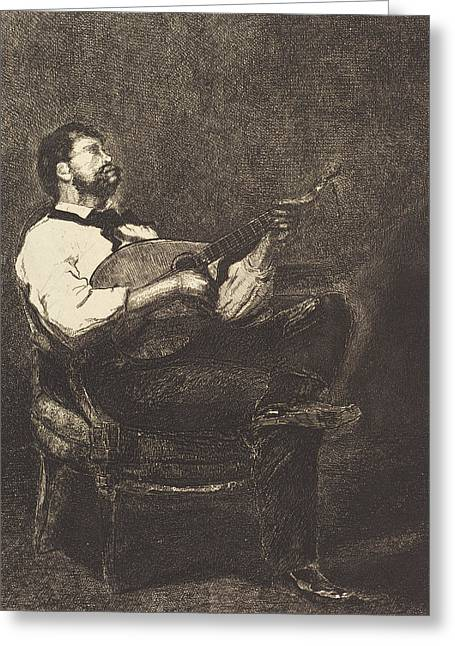 Strumming Greeting Cards - Guitar Player Greeting Card by Francois Bonvin