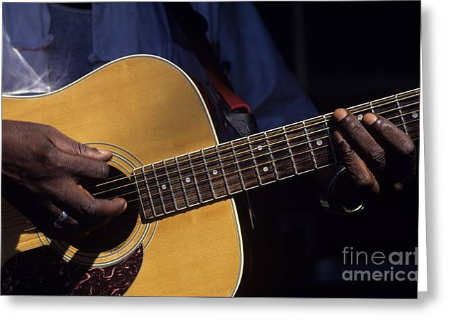 Festivities Greeting Cards - Guitar Player Greeting Card by Jim Corwin