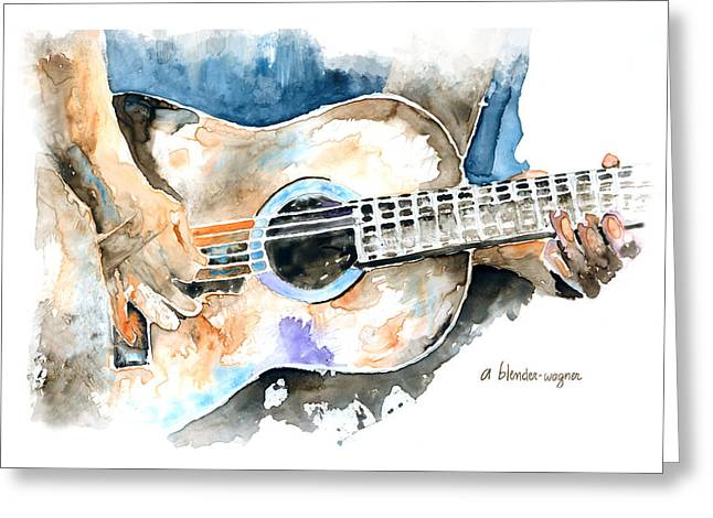 Musicans Greeting Cards - Guitar Riffs... Greeting Card by Arline Wagner