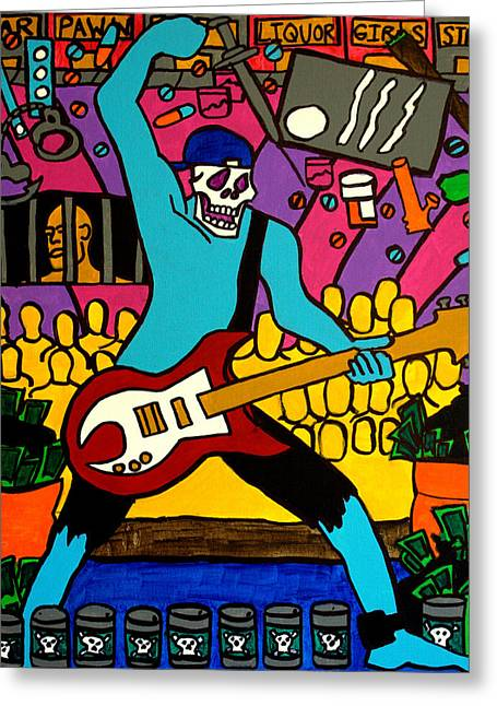 Pill Drawings Greeting Cards - Guitar Solo Greeting Card by Arne Henn