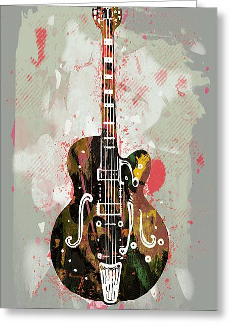 Instruments Mixed Media Greeting Cards - Guitar stylised pop art poster Greeting Card by Kim Wang
