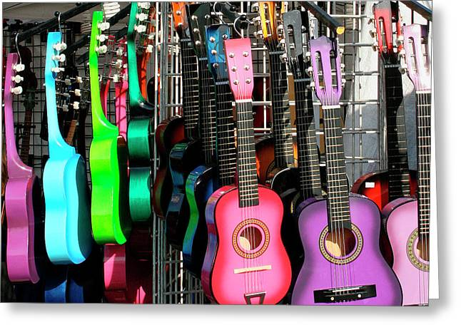 Street Fairs Greeting Cards - Guitar World Greeting Card by William Dey