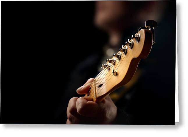 Blur Photography Greeting Cards - Guitarist Close-up Greeting Card by Johan Swanepoel