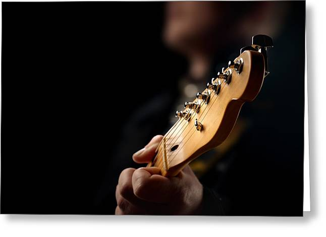 Musical Photographs Greeting Cards - Guitarist Close-up Greeting Card by Johan Swanepoel