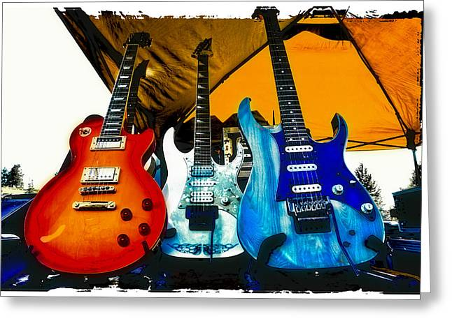 The Fabulous Kingpins Greeting Cards - Guitars at Intermission Greeting Card by David Patterson