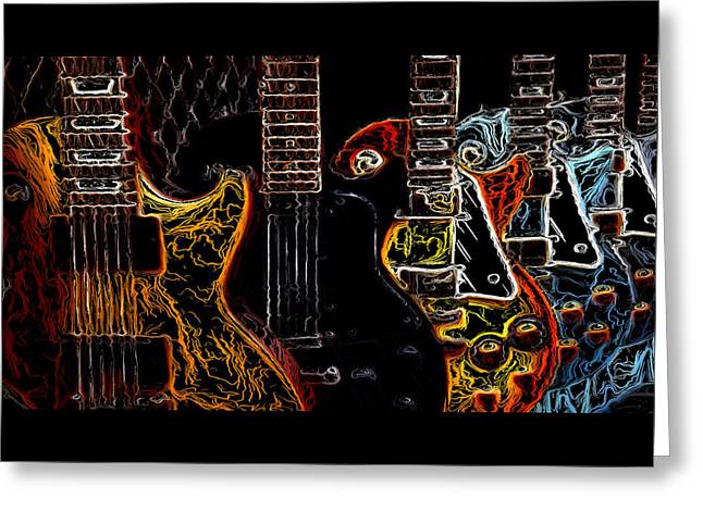 Charlotte Greeting Cards - Guitars Electrified Greeting Card by Morgan Carter