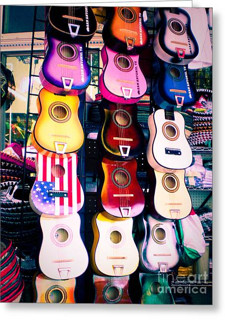 Sonja Quintero Greeting Cards - Guitars in San Antonio Market Greeting Card by Sonja Quintero