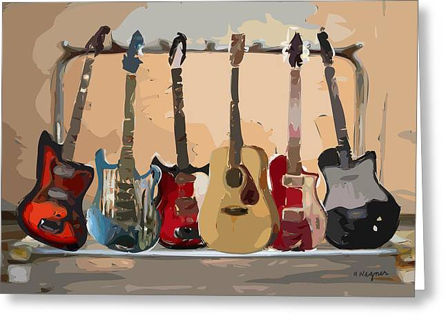 Electric Greeting Cards - Guitars On A Rack Greeting Card by Arline Wagner