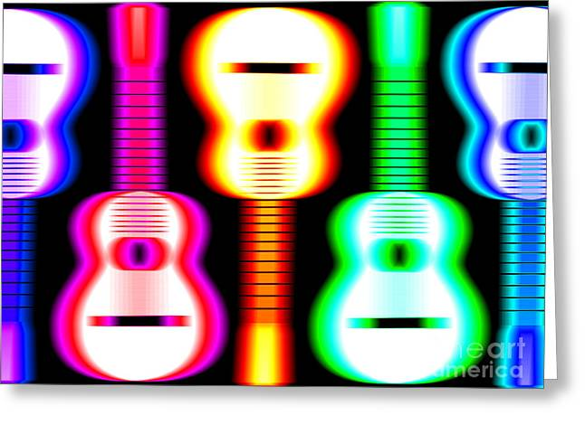 Guitars on Fire 3 Greeting Card by Andy Smy