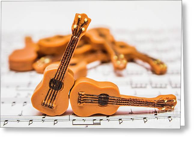 Guitars On Musical Notes Sheet Greeting Card by Jorgo Photography - Wall Art Gallery