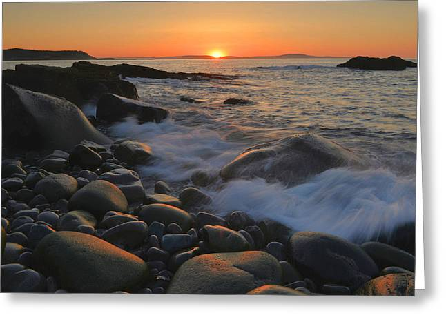 Maine Beach Greeting Cards - Gulf Of Maine Sunrise Greeting Card by Stephen  Vecchiotti